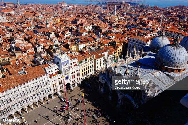 overview on san marco square and surroundings, venice, italy - 時計台 ストックフォトと画像