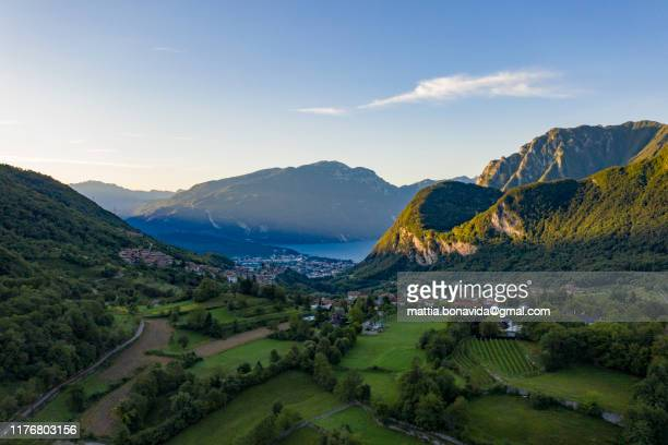 overview on tenno lake - italy stock pictures, royalty-free photos & images