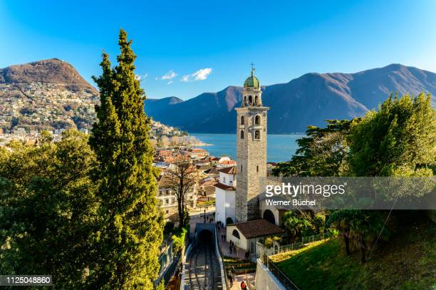 overview over the city of lugano in southern switzerland - スイス ルガーノ ストックフォトと画像