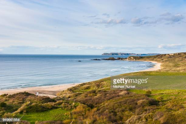 Overview over Whitepark bay, near Ballycastle, County Antrim, Northern Ireland, United Kingdom
