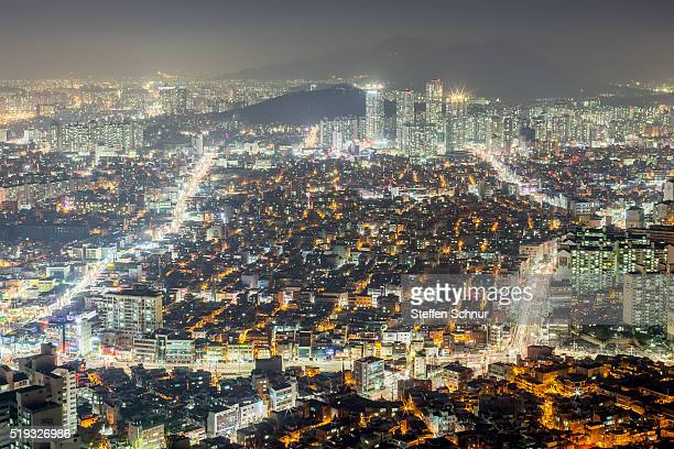 overview Seoul skyline at night