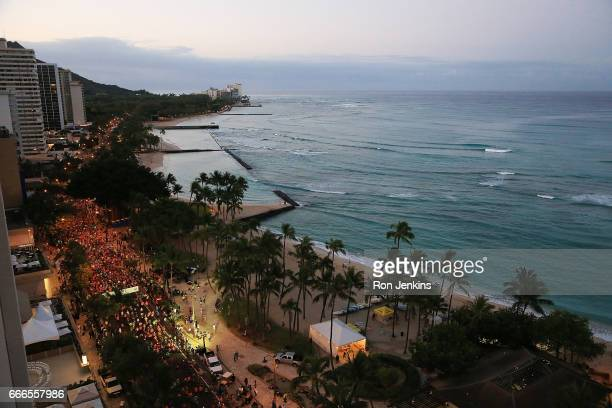 Overview shot of starting line during The Hapalua 2017 Hawaii's Half Marathon on April 9 2017 in Honolulu Hawaii