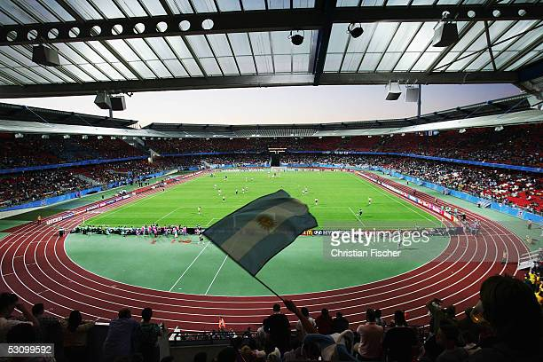 Overview shows the Frankenstadium during the FIFA Confederations Cup 2005 match between Argentina and Australia on June 18, 2005 in Nuremberg,...