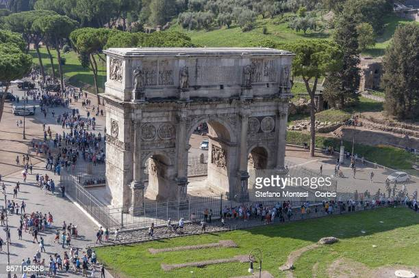 Overview taken from the top of the Colosseum shows the Arch of Constantine on October 3 2017 in Rome Italy Italy's Culture Minister Dario...