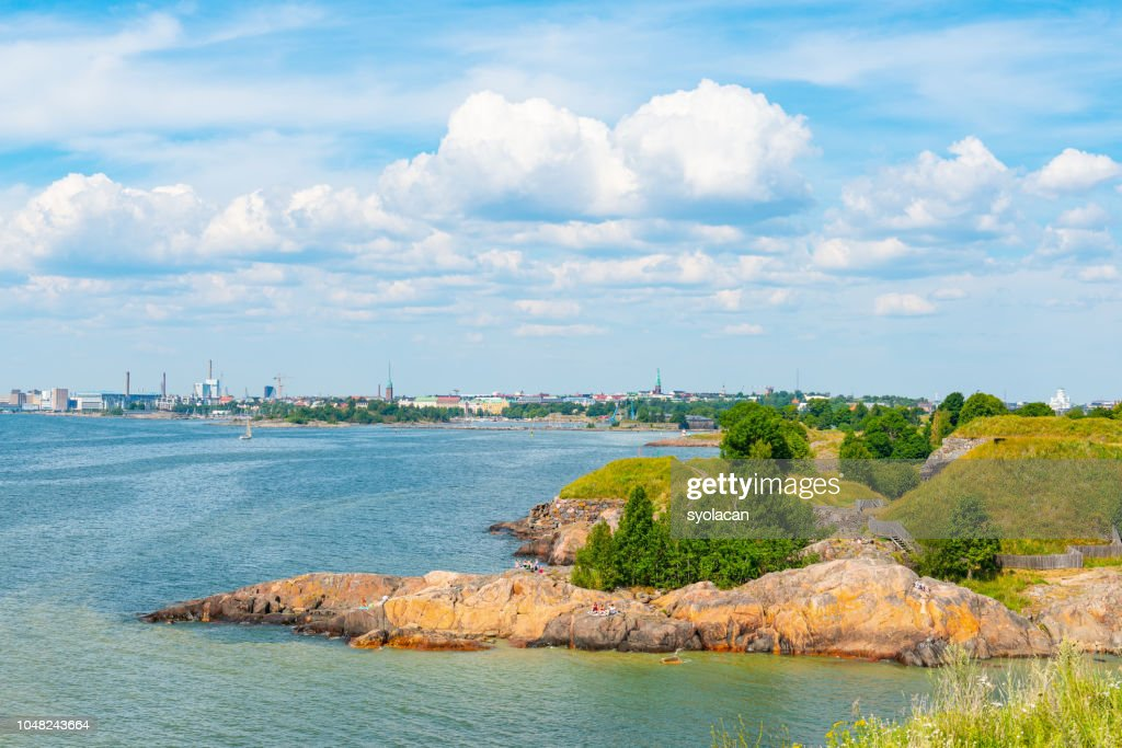 Overview to Helsinki from Suomenlinna Island : Stock Photo