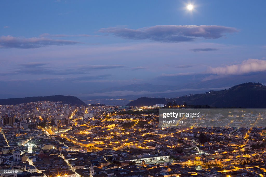 Overviewing city at dusk, Quito, Ecuador : Stock Photo