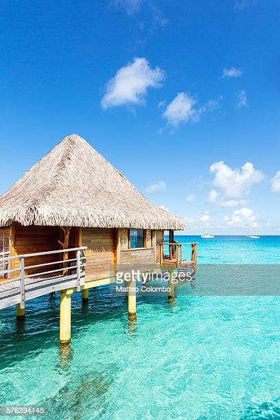 Overwater bungalow in the lagoon of Rangiroa