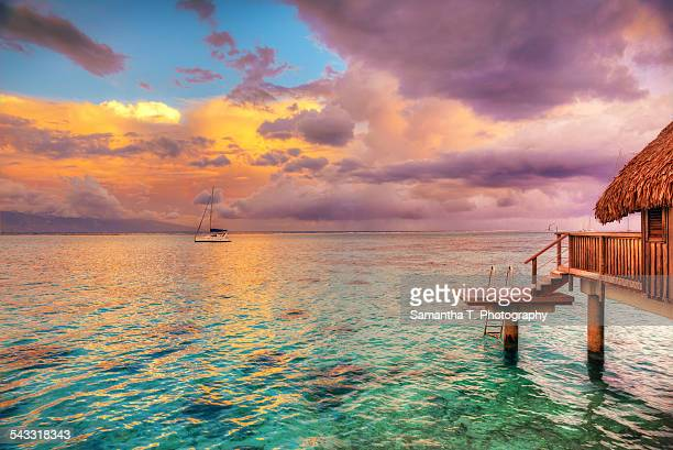 overwater bungalow moorea - tahiti stock pictures, royalty-free photos & images