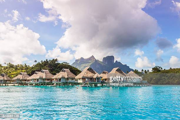 Overwater bungalows in the lagoon of Bora Bora