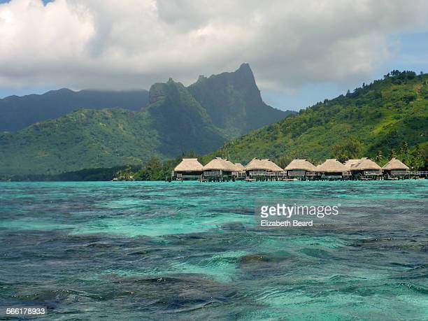 Overwater bungalows on island of Moorea