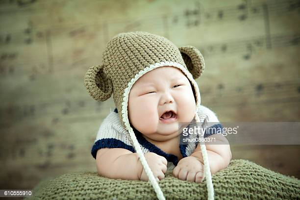 overweight baby crying - chubby boy stock photos and pictures