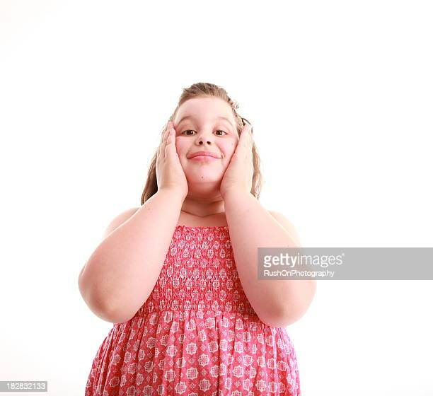 overweight child - fat girls stock photos and pictures