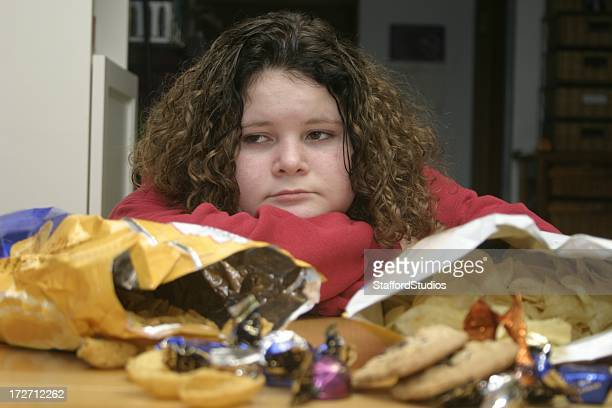 Overweight Child with Junk Food