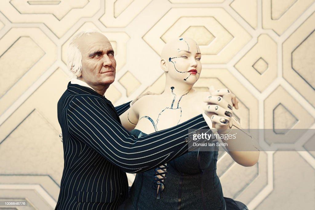 Overweight female cyborg leads senior man in dance : Stock-Foto