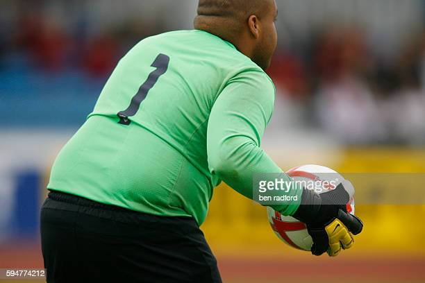 Overweight goalkeeper Michael Johnson of USA gathers the ball during the 7ASide Football between Great Britain and USA on Day Two of the 2010 BT...