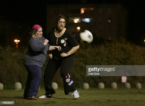 Overweight Israeli women Anuk Yosef and Yifat Shnaider play soccer as part of a weightloss program based on the sport on February 12 2007 in Tel Aviv...