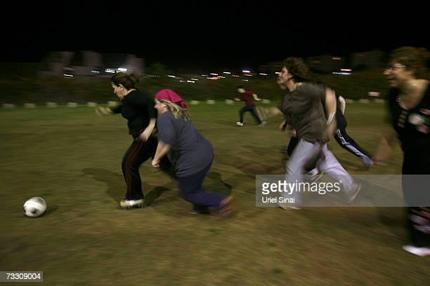 Overweight Israeli women play soccer as part of a weightloss program based on the sport on February 12 2007 in Tel Aviv Israel Israeli cardiologist...