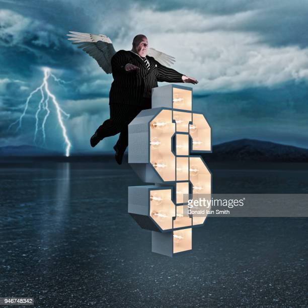 Overweight man in business suit with wings and floating dollar sign