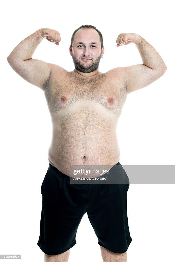 Dick Und Fett Nackter Oberkörper Mann Passt Seine Arme Stock-Foto ...