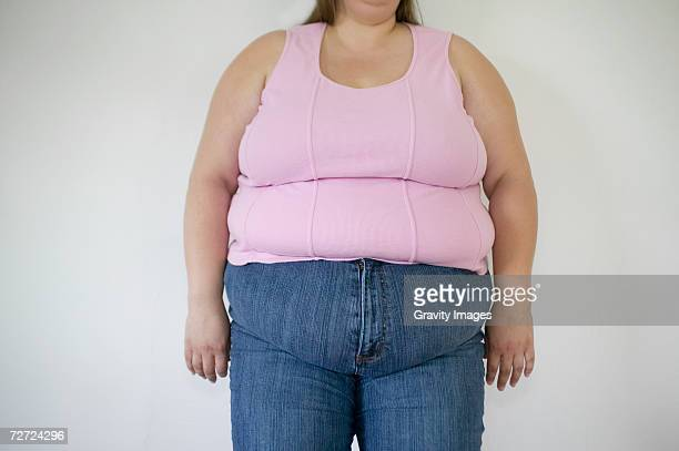 Overweight woman, mid section