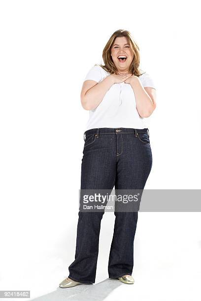 Overweight woman showing surprise