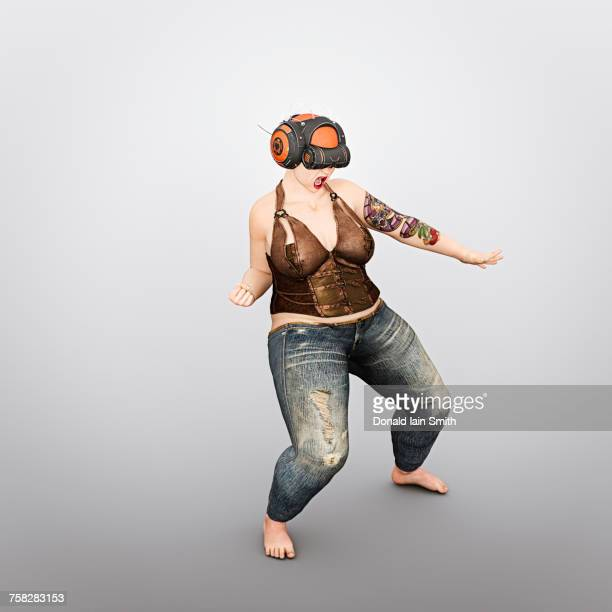 Overweight woman using virtual reality helmet