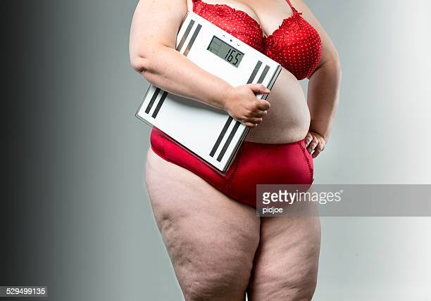 Overweight woman with scales