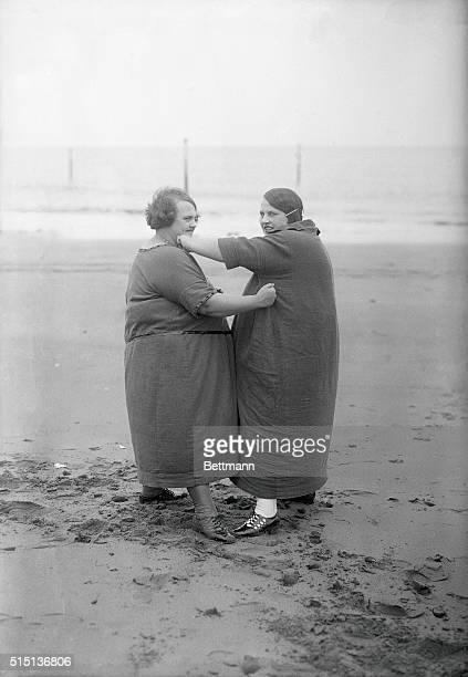 Overweight women sparring at beach November 02 1925