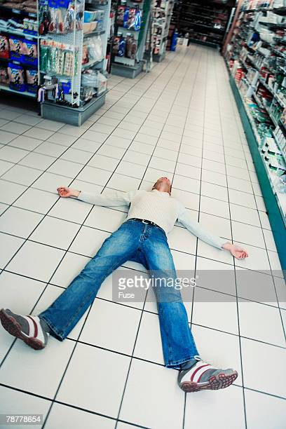 Overwhelmed Man in Supermarket