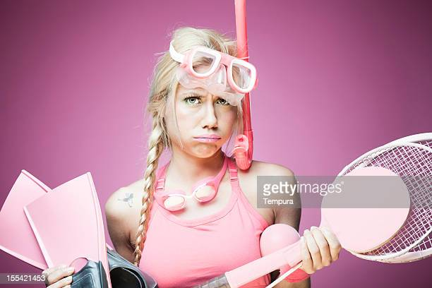 overwhelmed sports woman in pink. - funny ping pong stock pictures, royalty-free photos & images