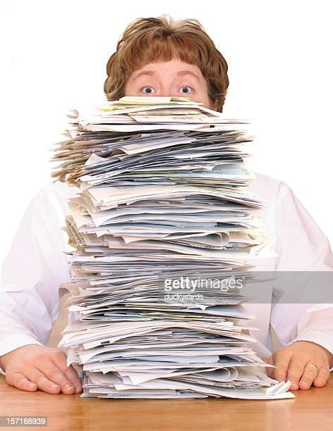 overwhelmed with paperwork - female mound stock pictures, royalty-free photos & images