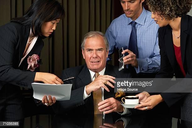 overworked businessman - ongeduldig stockfoto's en -beelden