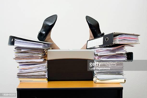 Overworked businesswoman
