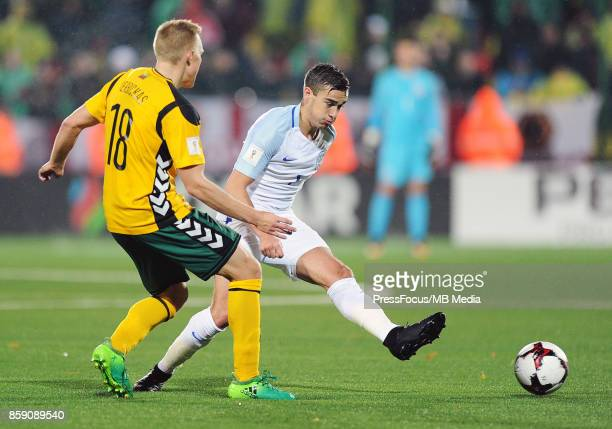 Ovidijus Verbickas of Lithuania and Harry Winks of England in action during the FIFA 2018 World Cup qualifier between Lithuania and England on...