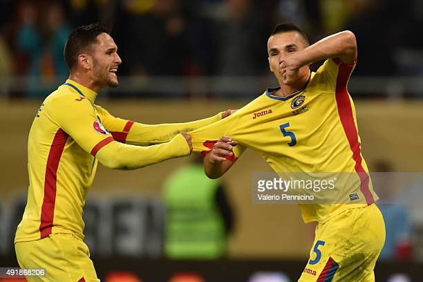 Ovidiu Hoban of Romania celebrates his goal with team mate Florin Andone during the UEFA EURO 2016 Qualifier between Romania and Finland on October 8...
