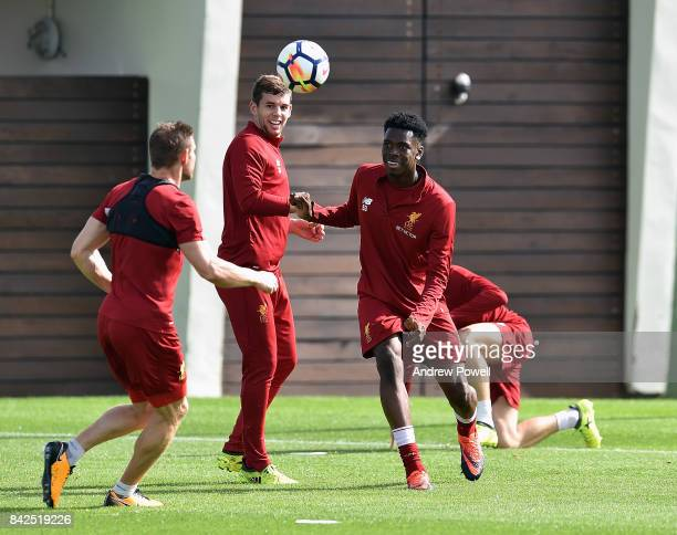 Ovie Ejaria and Jon Flanagan of Liverpool during a training session at Melwood Training Ground on September 4 2017 in Liverpool England