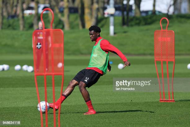 Ovie Ejaria controls the ball during a Sunderland AFC training session at The Academy of Light on April 19 2018 in Sunderland England