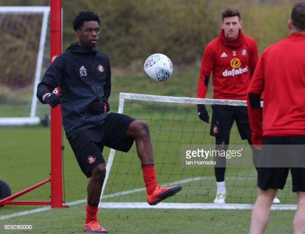 Ovie Ejaria controls the ball during a Sunderland training session at The Academy of Light on March 8 2018 in Sunderland England