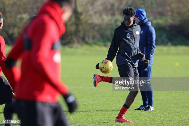 Ovie Ejaria controls the ball during a training session at The Academy of Light on February 7 2018 in Sunderland England