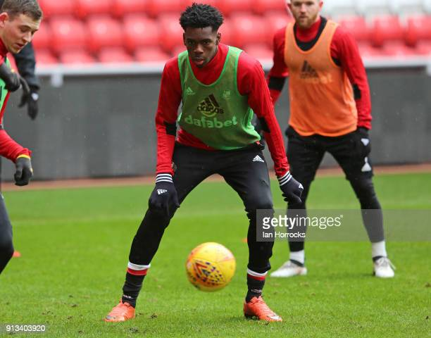 Ovie Ejaria during a SAFC training session at the Stadium of Light on February 02 2018 in Sunderland England