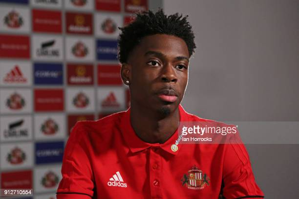 Ovie Ejaria is interviewed after being unveiled as a Sunderland player at The Academy of Light on January 31 2018 in Sunderland England