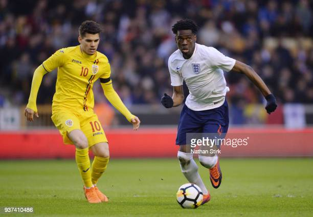 Ovie Ejaria of England U21 in action during the international friendly match between England U21 and Romania U21 at Molineux on March 24, 2018 in...
