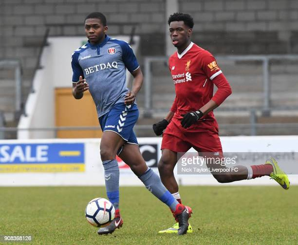Ovie Ejaria of Liverpool and Anternee Dijksteel of Charlton Athletic in action during the Liverpool U23 v Charlton Athletic U23 Premier League Cup...