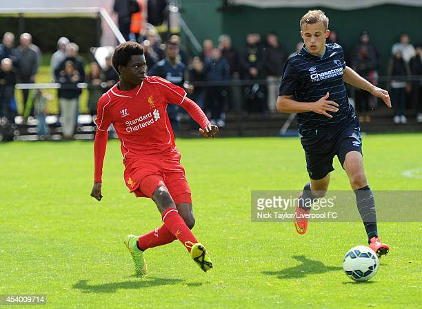Ovie Ejaria of Liverpool and Charles Vernam of Derby County in action during the Barclays Premier League Under 18 fixture between Liverpool and Derby...