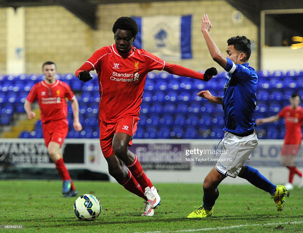 Ovie Ejaria of Liverpool and Domenic Bernard of Birmingham City in action during the FA Youth Cup 5th Round match between Liverpool and Birmingham City at The Swansway Chester Stadium on January 30, 2015 in Chester, England.