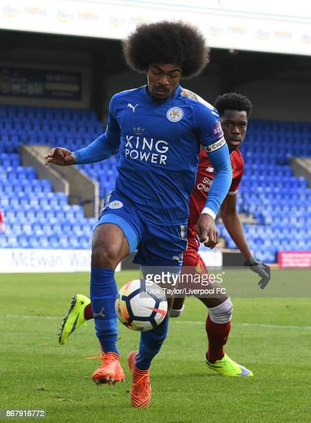 Ovie Ejaria of Liverpool and Hamza Choudhury of Leicester City in action during the Liverpool v Leicester City PL2 game at Prenton Park on October 29...