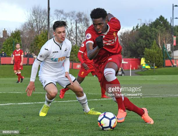 Ovie Ejaria of Liverpool and Jack Evans of Swansea City in action during the Liverpool U23 v Swansea City U23 PL2 game at The Kirkby Academy on...