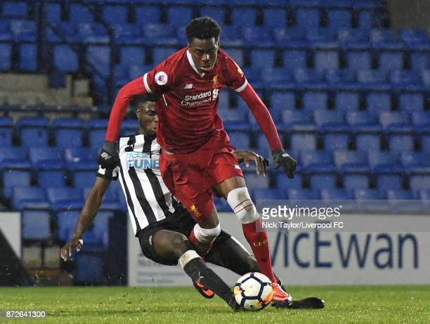 Ovie Ejaria of Liverpool and Mo Sangare of Newcastle United in action during the Premier League International Cup match between Liverpool U23 and...