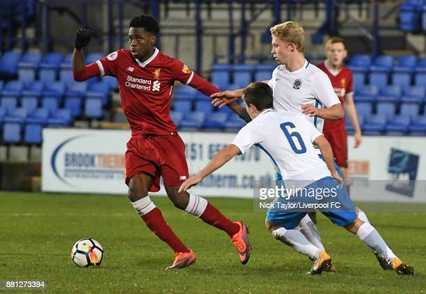Ovie Ejaria of Liverpool and Richard Sedlazek and Vaclav Drchal of Sparta Prague in action during the Liverpool v Sparta Prague U23 Premier League...