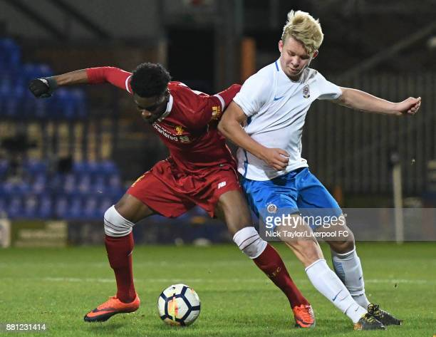 Ovie Ejaria of Liverpool and Vaclav Drchal of Sparta Prague in action during the Liverpool v Sparta Prague U23 Premier League International Cup game...